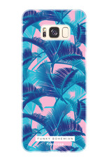 FOONCASE Samsung Galaxy S8 Plus hoesje TPU Soft Case - Back Cover - Funky Bohemian / Blauw Roze Bladeren