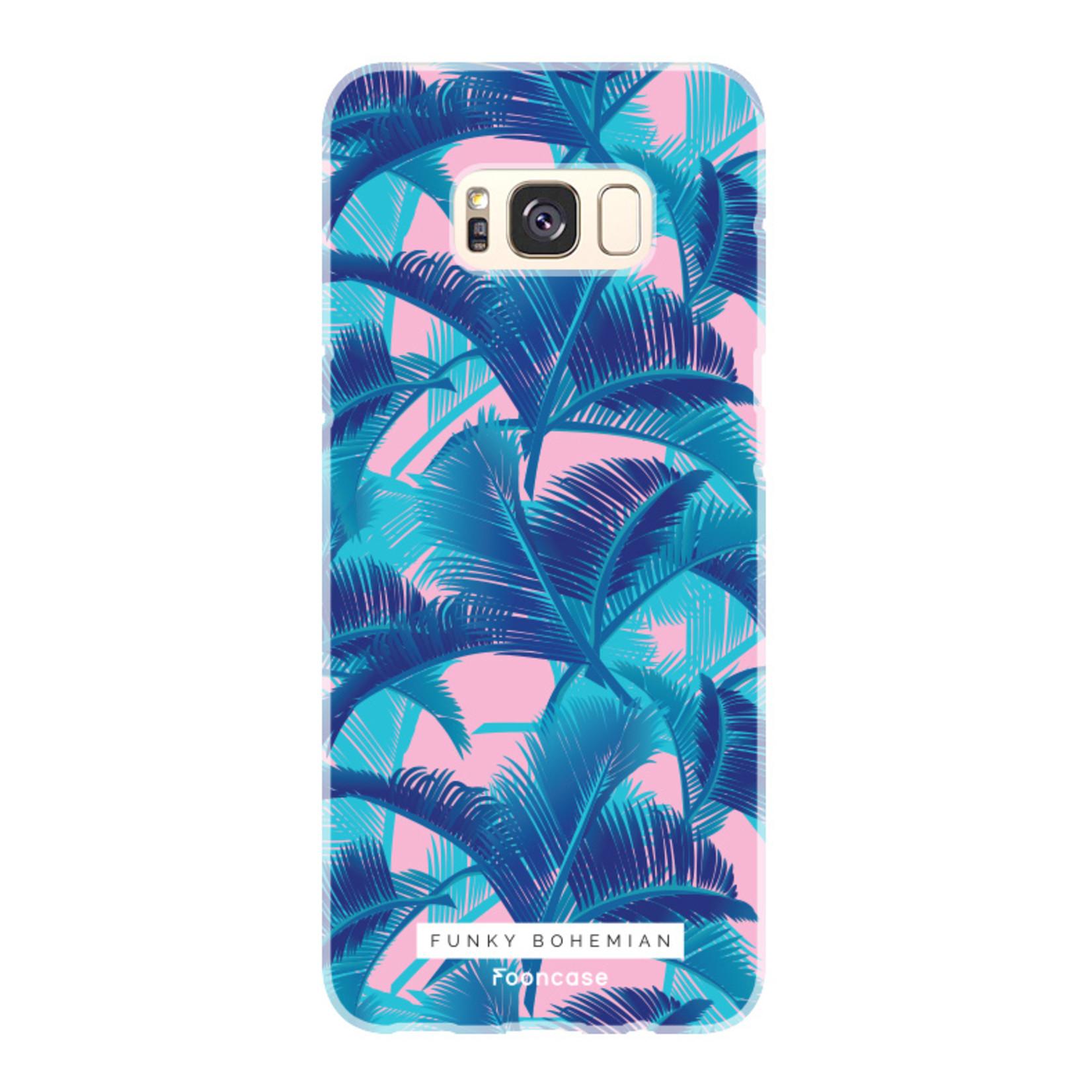 FOONCASE Samsung Galaxy S8 Plus hoesje TPU Soft Case - Back Cover - Funky Bohemian / Blauw Roze Bladeren