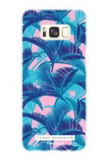 FOONCASE Samsung Galaxy S8 hoesje TPU Soft Case - Back Cover - Funky Bohemian / Blauw Roze Bladeren