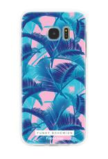 FOONCASE Samsung Galaxy S7 Edge hoesje TPU Soft Case - Back Cover - Funky Bohemian / Blauw Roze Bladeren