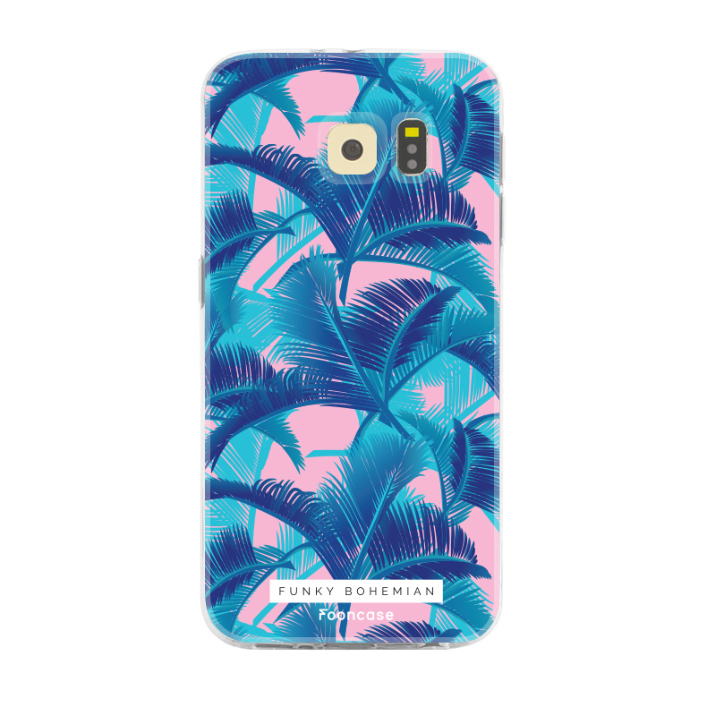 FOONCASE Samsung Galaxy S6 Edge hoesje TPU Soft Case - Back Cover - Funky Bohemian / Blauw Roze Bladeren
