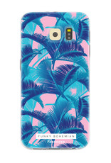 FOONCASE Samsung Galaxy S6 hoesje TPU Soft Case - Back Cover - Funky Bohemian / Blauw Roze Bladeren