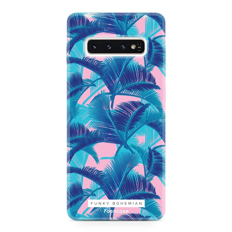 FOONCASE Samsung Galaxy S10 Plus hoesje TPU Soft Case - Back Cover - Funky Bohemian / Blauw Roze Bladeren