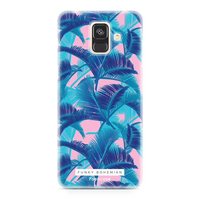 FOONCASE Samsung Galaxy A6 2018 hoesje TPU Soft Case - Back Cover - Funky Bohemian / Blauw Roze Bladeren