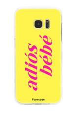 FOONCASE Samsung Galaxy S7 Edge hoesje TPU Soft Case - Back Cover - Adiós Bébé ☀ / Geel & Roze
