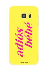 FOONCASE Samsung Galaxy S7 hoesje TPU Soft Case - Back Cover - Adiós Bébé ☀ / Geel & Roze