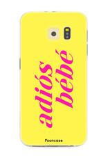 FOONCASE Samsung Galaxy S6 Edge hoesje TPU Soft Case - Back Cover - Adiós Bébé ☀ / Geel & Roze
