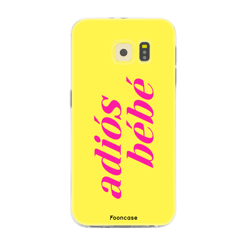 FOONCASE Samsung Galaxy S6 hoesje TPU Soft Case - Back Cover - Adiós Bébé ☀ / Geel & Roze