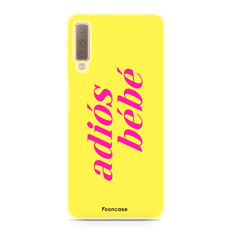 FOONCASE Samsung Galaxy A7 2018 hoesje TPU Soft Case - Back Cover - Adiós Bébé ☀ / Geel & Roze