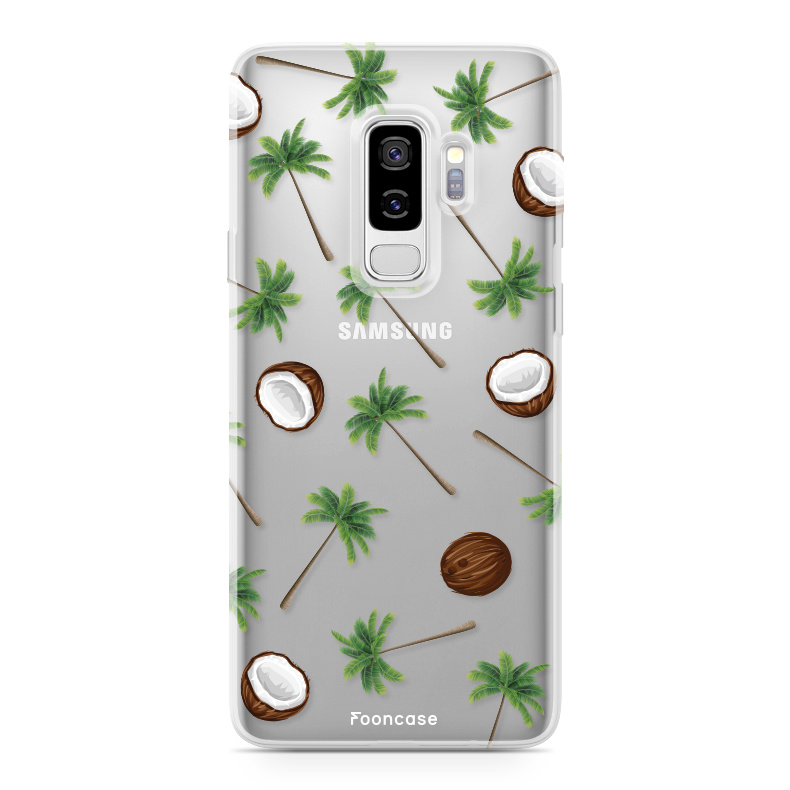 FOONCASE Samsung Galaxy S9 Plus hoesje TPU Soft Case - Back Cover - Coco Paradise / Kokosnoot / Palmboom