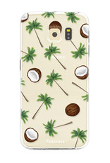 FOONCASE Samsung Galaxy S6 Edge hoesje TPU Soft Case - Back Cover - Coco Paradise / Kokosnoot / Palmboom