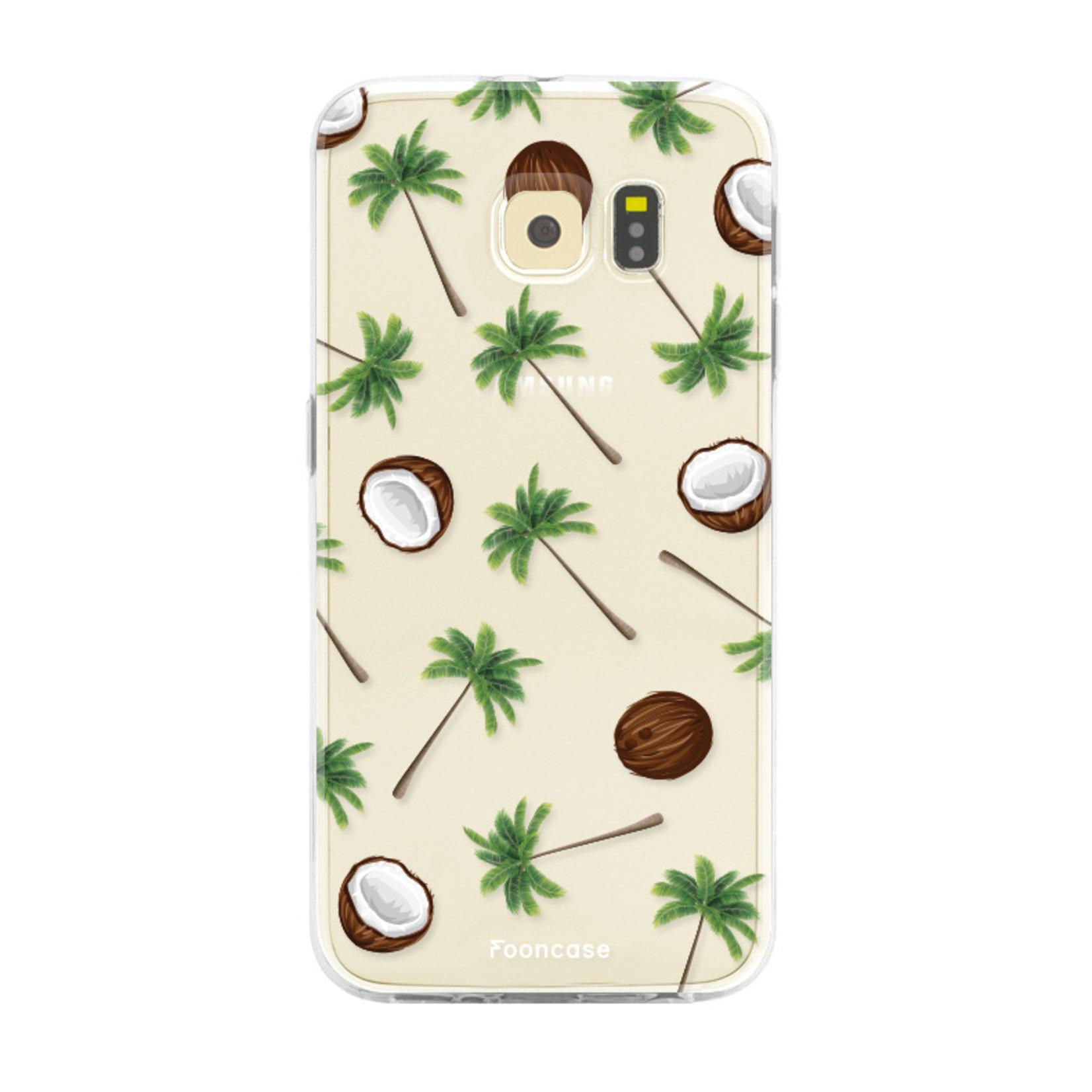 FOONCASE Samsung Galaxy S6 Edge hoesje TPU Soft Case - Back Cover - Coco Paradise / Kokosnoot / Palmboom