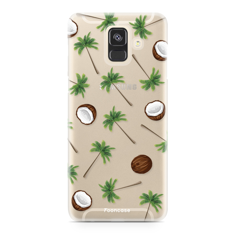 FOONCASE Samsung Galaxy A6 2018 hoesje TPU Soft Case - Back Cover - Coco Paradise / Kokosnoot / Palmboom