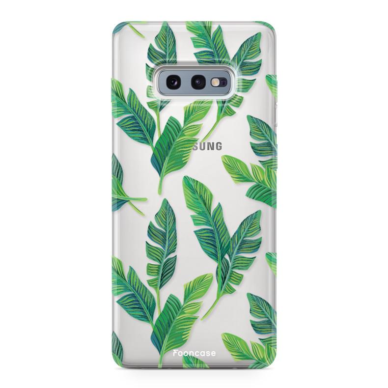 FOONCASE Samsung Galaxy S10e hoesje TPU Soft Case - Back Cover - Banana leaves / Bananen bladeren