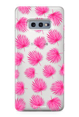 FOONCASE Samsung Galaxy S10e hoesje TPU Soft Case - Back Cover - Pink leaves / Roze bladeren