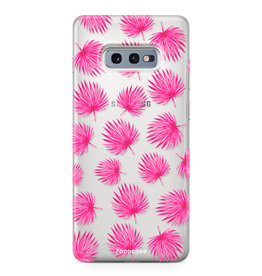 FOONCASE Samsung Galaxy S10e - Pink leaves