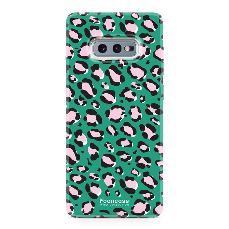 FOONCASE Samsung Galaxy S10e hoesje TPU Soft Case - Back Cover - WILD COLLECTION / Luipaard / Leopard print / Groen