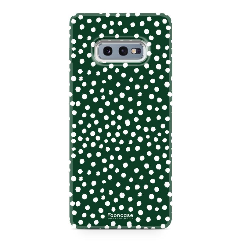 FOONCASE Samsung Galaxy S10e hoesje TPU Soft Case - Back Cover - POLKA COLLECTION / Stipjes / Stippen / Donker Groen