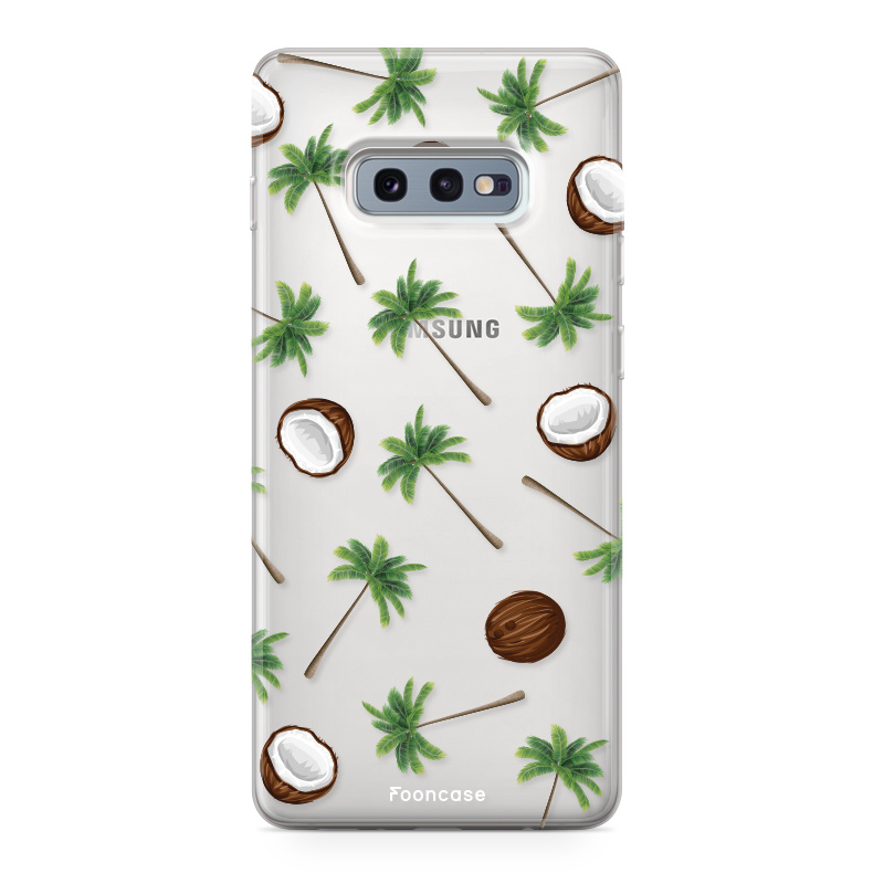 FOONCASE Samsung Galaxy S10e hoesje TPU Soft Case - Back Cover - Coco Paradise / Kokosnoot / Palmboom