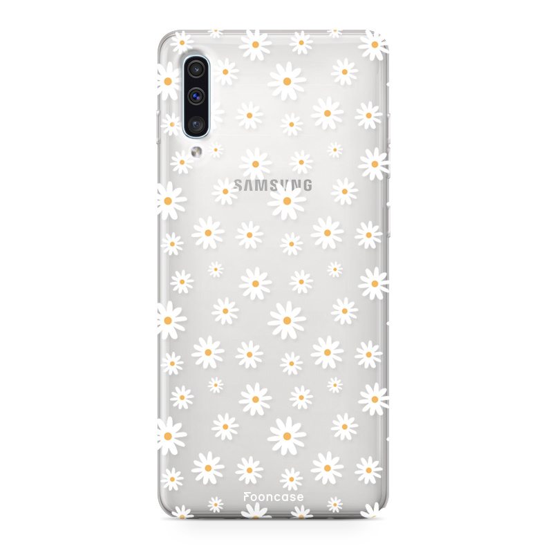 FOONCASE Samsung Galaxy A50 hoesje TPU Soft Case - Back Cover - Madeliefjes