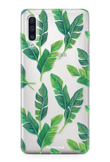 FOONCASE Samsung Galaxy A50 hoesje TPU Soft Case - Back Cover - Banana leaves / Bananen bladeren