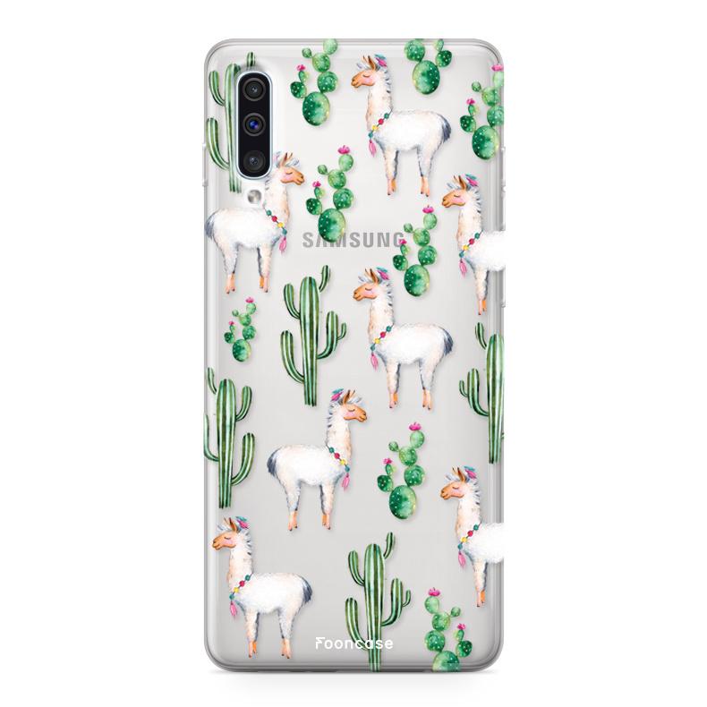 FOONCASE Samsung Galaxy A50 hoesje TPU Soft Case - Back Cover - Alpaca / Lama