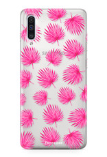 FOONCASE Samsung Galaxy A50 hoesje TPU Soft Case - Back Cover - Pink leaves / Roze bladeren