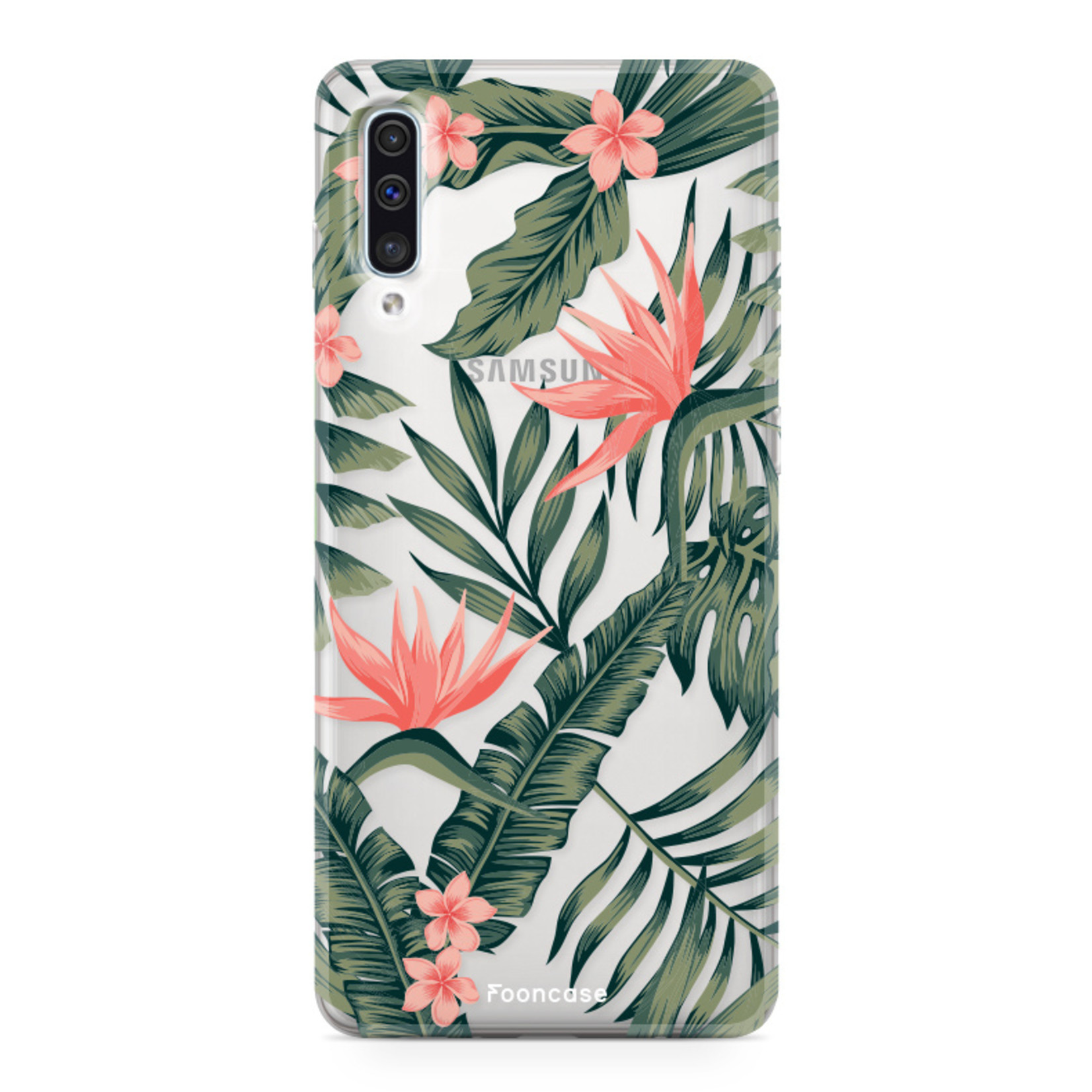 FOONCASE Samsung Galaxy A50 hoesje TPU Soft Case - Back Cover - Tropical Desire / Bladeren / Roze