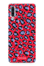 FOONCASE Samsung Galaxy A50 hoesje TPU Soft Case - Back Cover - WILD COLLECTION / Luipaard / Leopard print / Rood