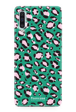 FOONCASE Samsung Galaxy A50 hoesje TPU Soft Case - Back Cover - WILD COLLECTION / Luipaard / Leopard print / Groen