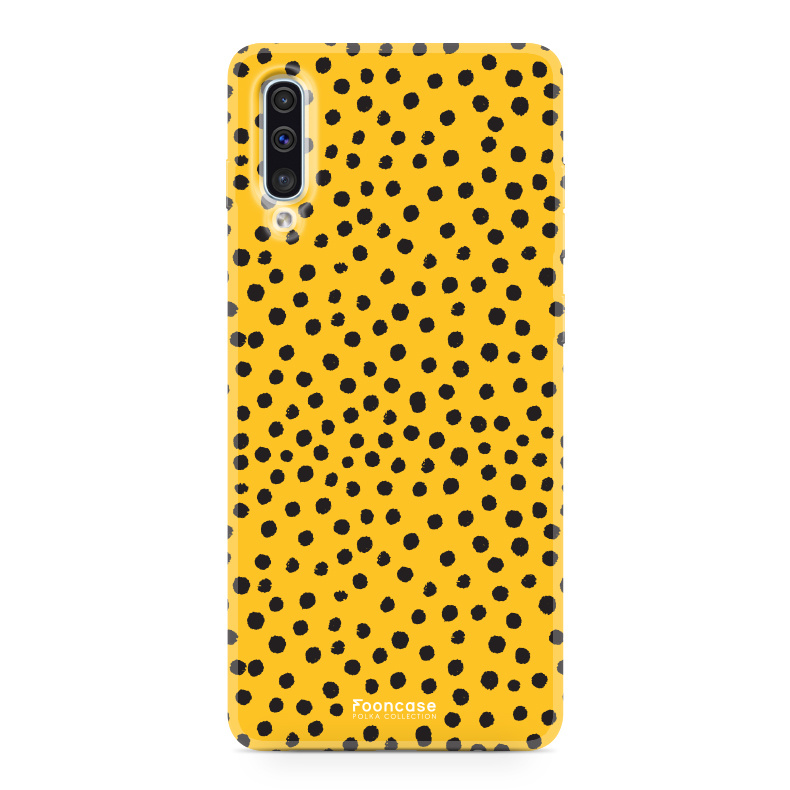 FOONCASE Samsung Galaxy A50 hoesje TPU Soft Case - Back Cover - POLKA COLLECTION / Stipjes / Stippen / Oker Geel