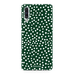 FOONCASE Samsung Galaxy A50 - POLKA COLLECTION / Donker Groen