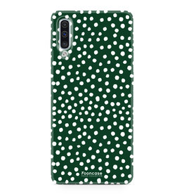 FOONCASE Samsung Galaxy A50 - POLKA COLLECTION / Dunkelgrün