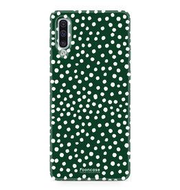 FOONCASE Samsung Galaxy A50 - POLKA COLLECTION / Verde scuro