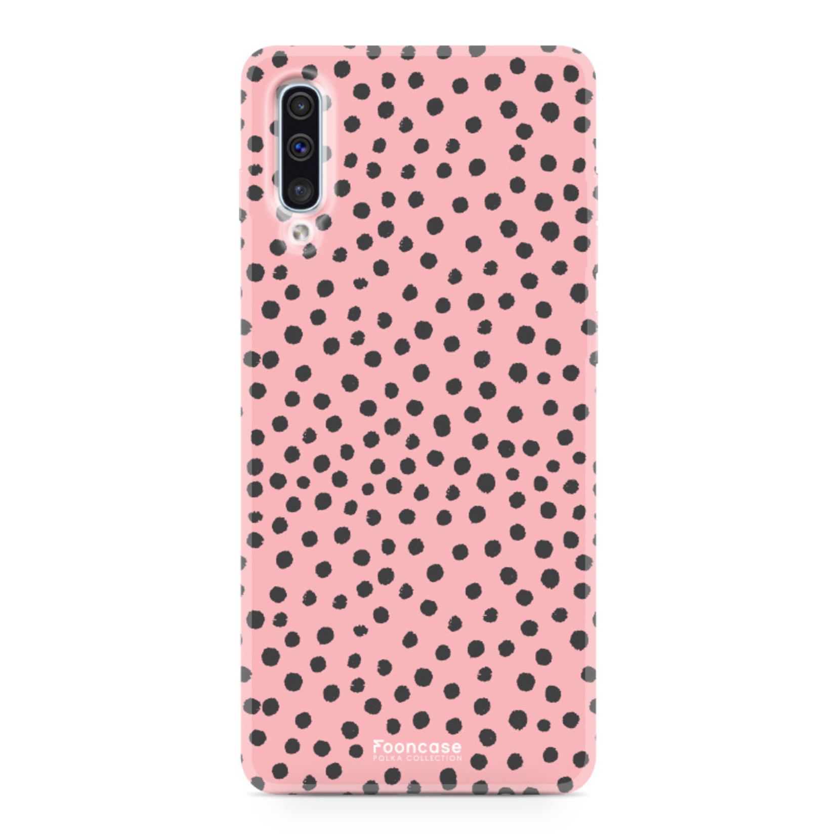 FOONCASE Samsung Galaxy A50 hoesje TPU Soft Case - Back Cover - POLKA COLLECTION / Stipjes / Stippen / Roze