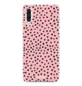FOONCASE Samsung Galaxy A50 - POLKA COLLECTION / Roze