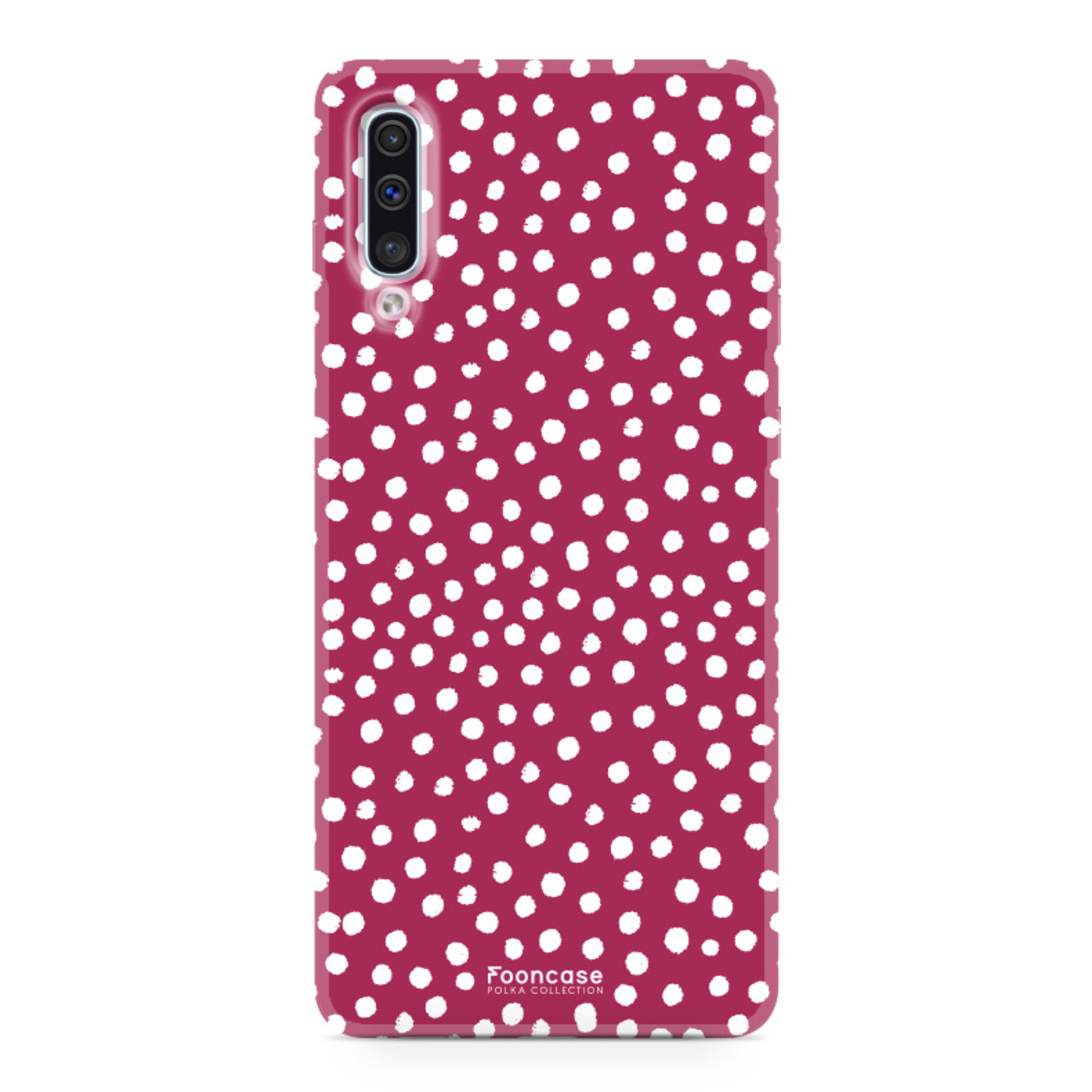 FOONCASE Samsung Galaxy A50 hoesje TPU Soft Case - Back Cover - POLKA COLLECTION / Stipjes / Stippen / Rood