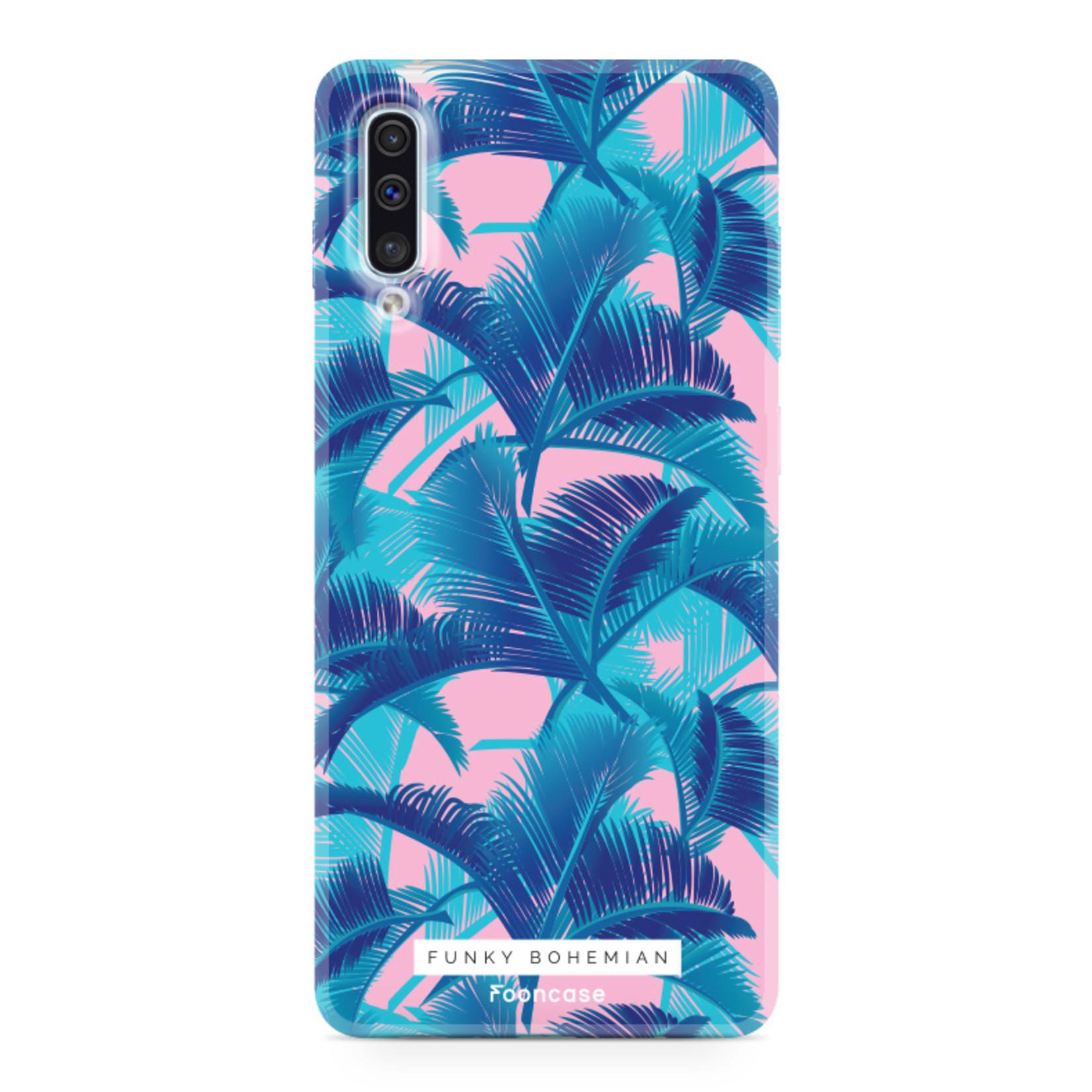 FOONCASE Samsung Galaxy A50 hoesje TPU Soft Case - Back Cover - Funky Bohemian / Blauw Roze Bladeren