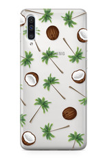 FOONCASE Samsung Galaxy A50 hoesje TPU Soft Case - Back Cover - Coco Paradise / Kokosnoot / Palmboom