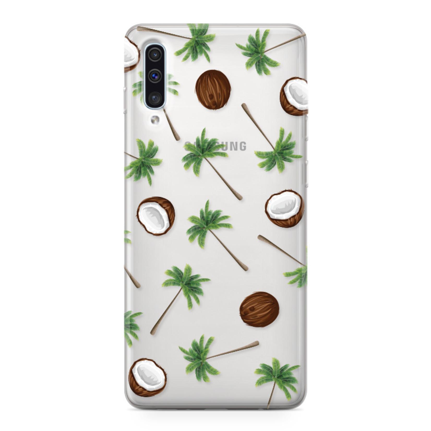 FOONCASE Samsung Galaxy A50 hoesje TPU Soft Case - Back Cover - Coco Paradise / Kokosnoot / Palmboom