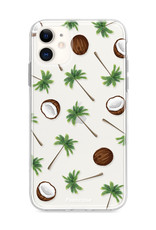 FOONCASE iPhone 11 hoesje TPU Soft Case - Back Cover - Coco Paradise / Kokosnoot / Palmboom