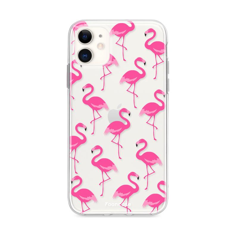 FOONCASE iPhone 11 hoesje TPU Soft Case - Back Cover - Flamingo