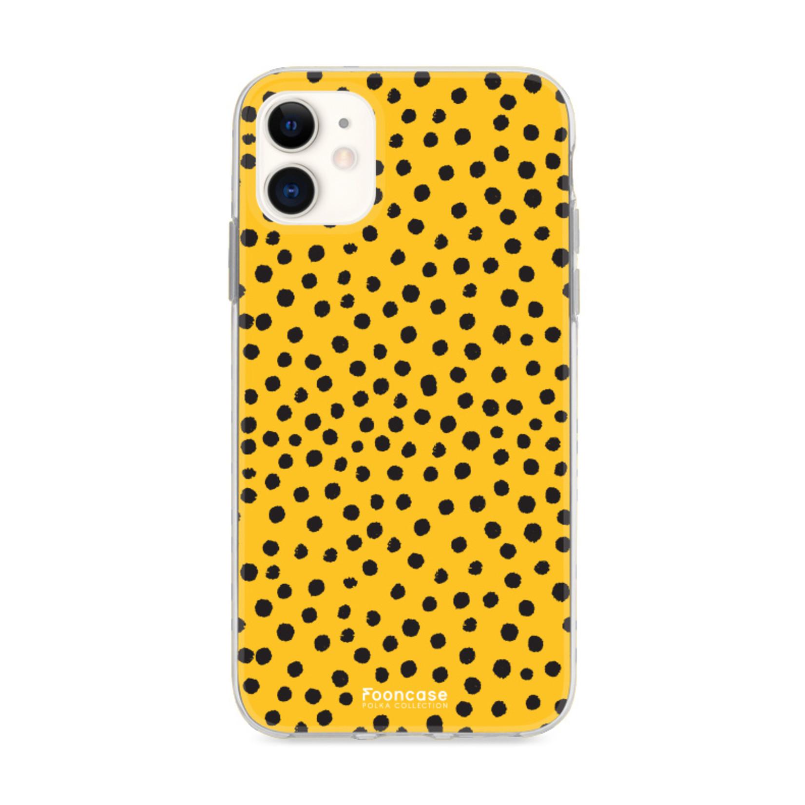 FOONCASE iPhone 11 hoesje TPU Soft Case - Back Cover - POLKA COLLECTION / Stipjes / Stippen / Oker Geel