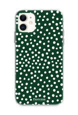 FOONCASE iPhone 11 hoesje TPU Soft Case - Back Cover - POLKA COLLECTION / Stipjes / Stippen / Donker Groen