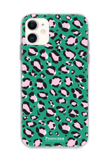 FOONCASE iPhone 11 hoesje TPU Soft Case - Back Cover - WILD COLLECTION / Luipaard / Leopard print / Groen