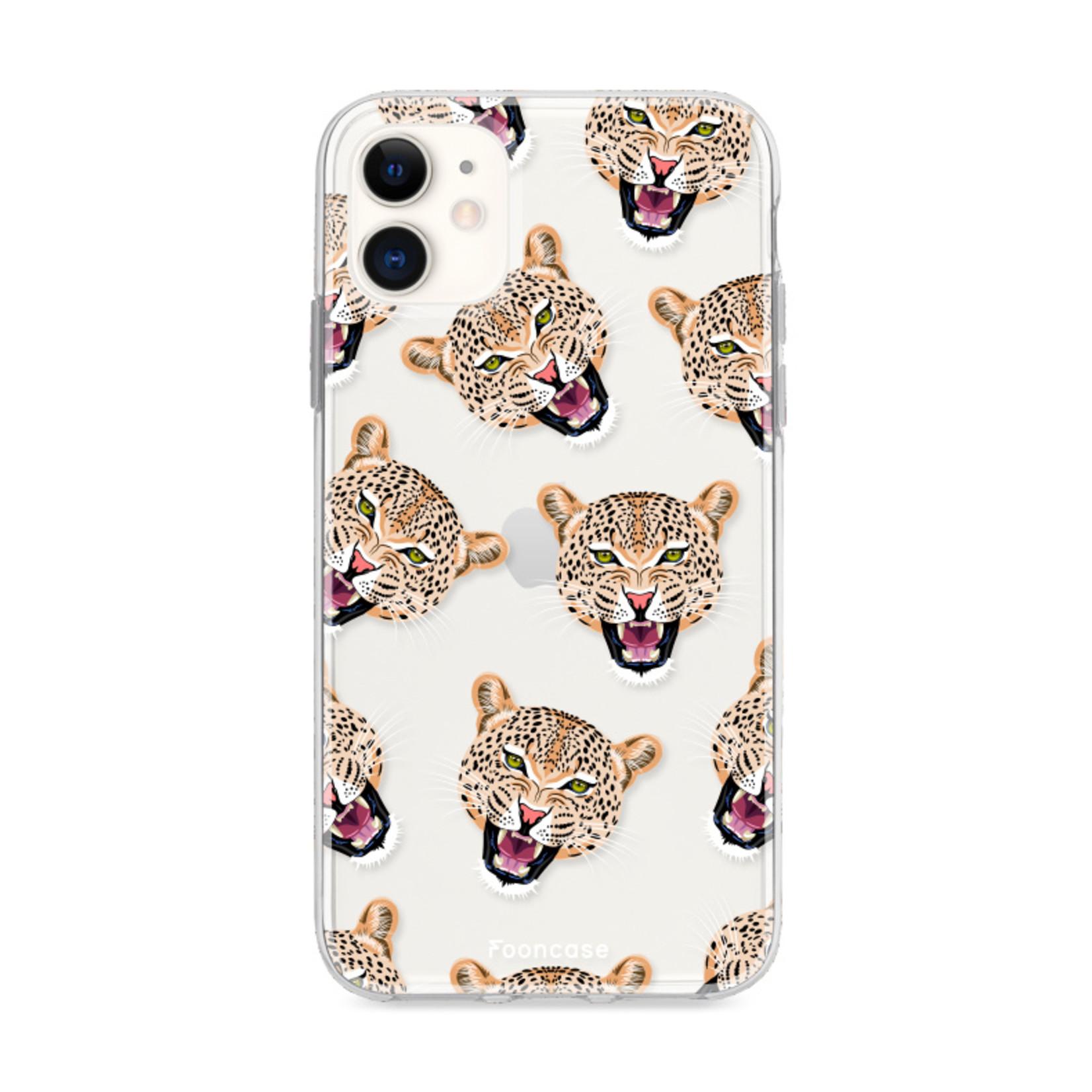 FOONCASE iPhone 11 hoesje TPU Soft Case - Back Cover - Cheeky Leopard / Luipaard hoofden