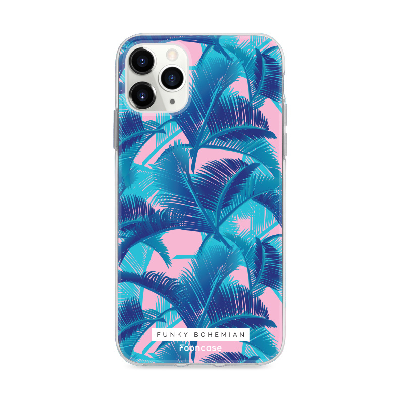 FOONCASE iPhone 11 Pro Max hoesje TPU Soft Case - Back Cover - Funky Bohemian / Blauw Roze Bladeren