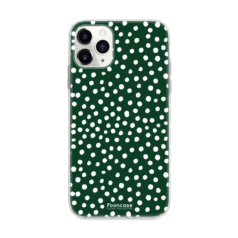 FOONCASE iPhone 11 Pro Max hoesje TPU Soft Case - Back Cover - POLKA COLLECTION / Stipjes / Stippen / Donker Groen