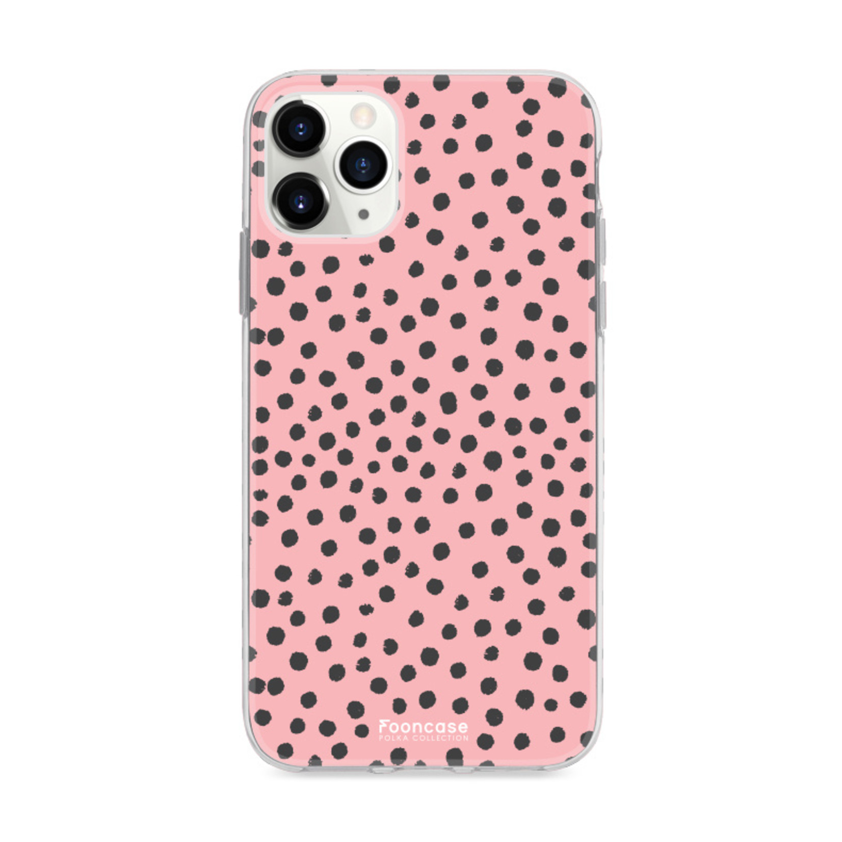 FOONCASE iPhone 11 Pro Max hoesje TPU Soft Case - Back Cover - POLKA COLLECTION / Stipjes / Stippen / Roze