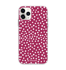 FOONCASE IPhone 11 Pro Max - POLKA COLLECTION / Bordeaux Red